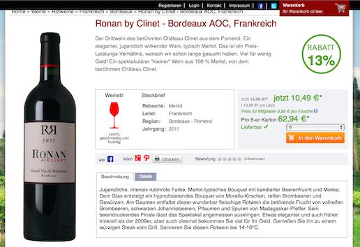 Weinversand Gutschein Weinschule Ronan by Clinet